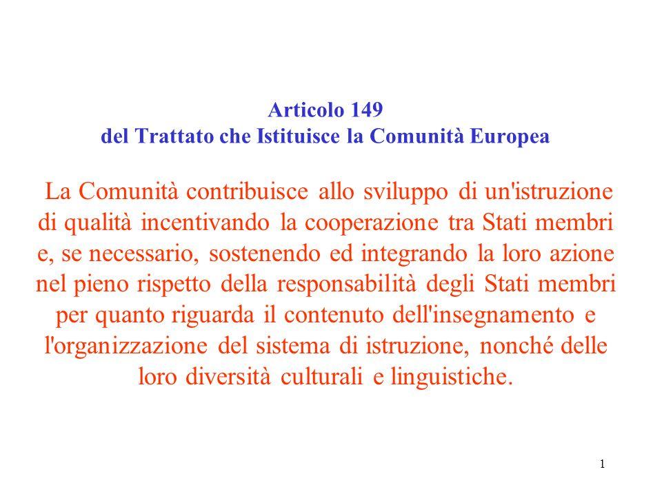 Articolo 149 del Trattato che Istituisce la Comunità Europea