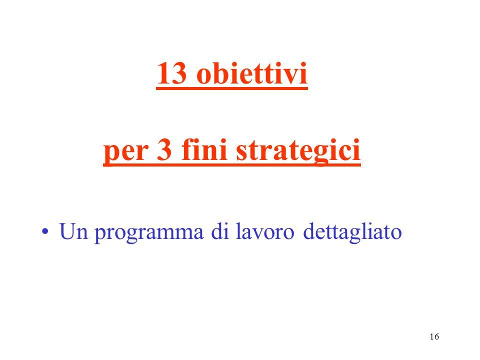 13 obiettivi per 3 fini strategici