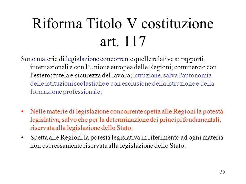 Riforma Titolo V costituzione art. 117