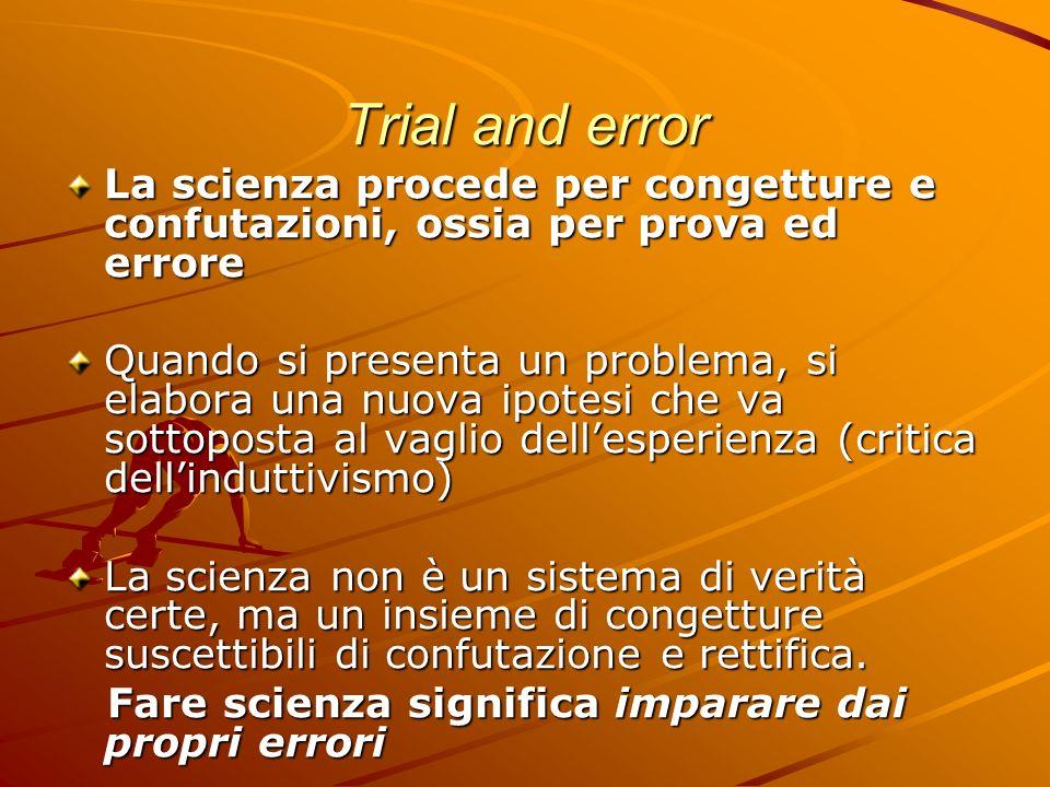 Trial and error La scienza procede per congetture e confutazioni, ossia per prova ed errore.