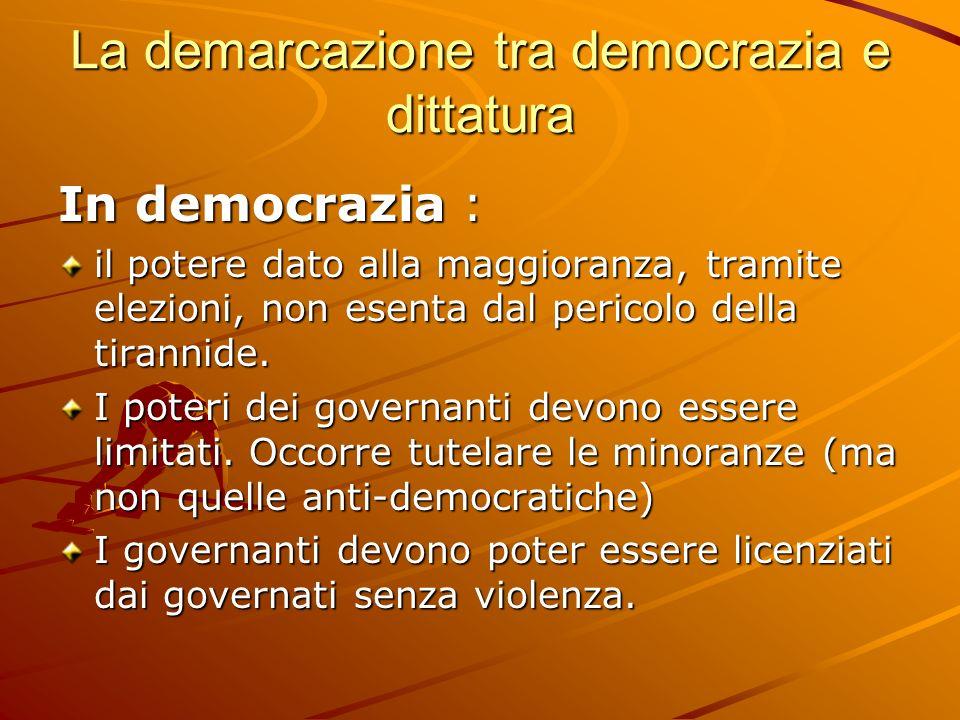 La demarcazione tra democrazia e dittatura