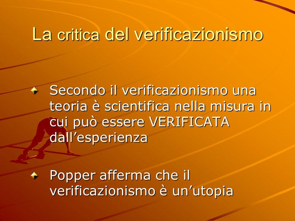 La critica del verificazionismo