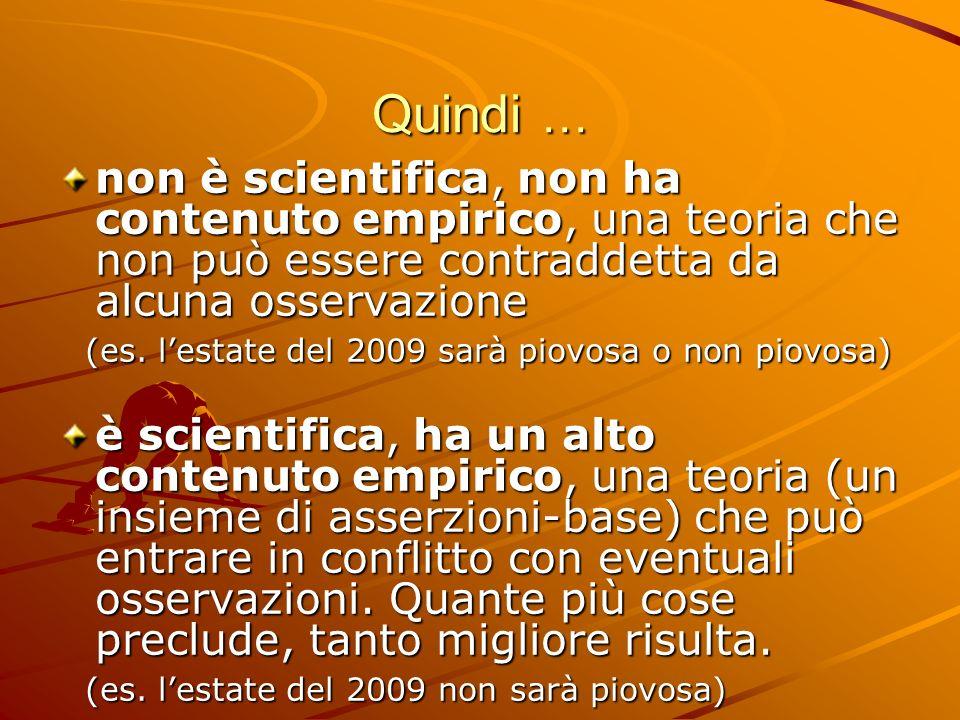 Quindi …non è scientifica, non ha contenuto empirico, una teoria che non può essere contraddetta da alcuna osservazione.