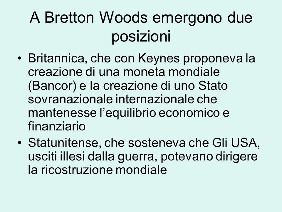 A Bretton Woods emergono due posizioni