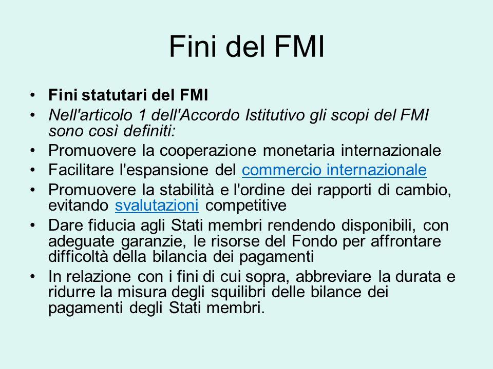 Fini del FMI Fini statutari del FMI