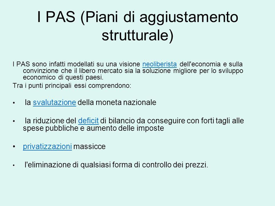 I PAS (Piani di aggiustamento strutturale)