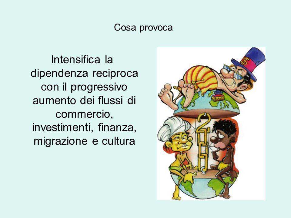 Cosa provoca Intensifica la dipendenza reciproca con il progressivo aumento dei flussi di commercio, investimenti, finanza, migrazione e cultura.