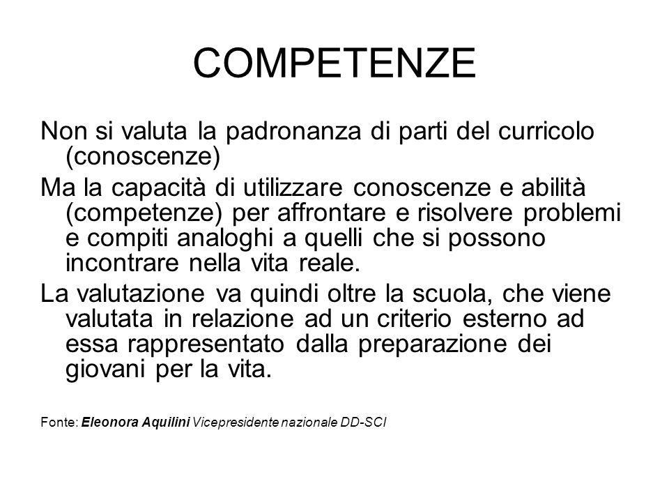 COMPETENZE Non si valuta la padronanza di parti del curricolo (conoscenze)