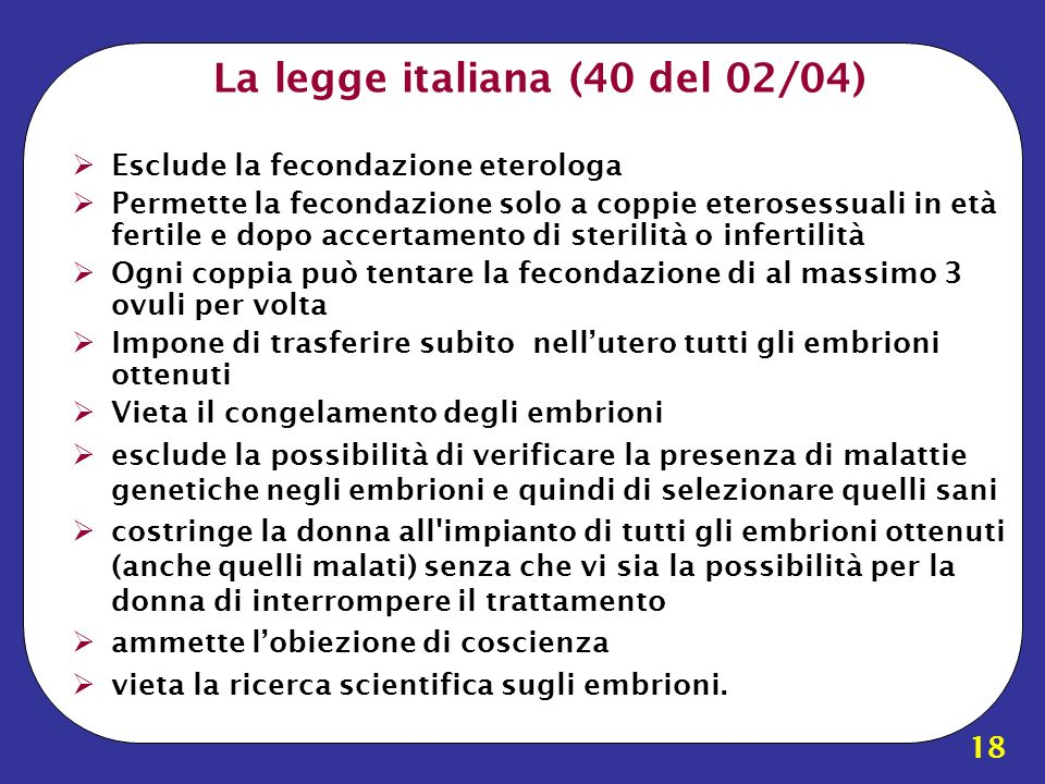 La legge italiana (40 del 02/04)