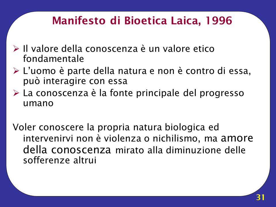Manifesto di Bioetica Laica, 1996