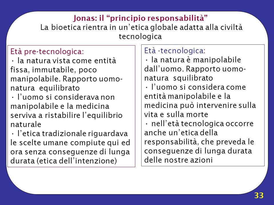 Jonas: il principio responsabilità La bioetica rientra in un'etica globale adatta alla civiltà tecnologica