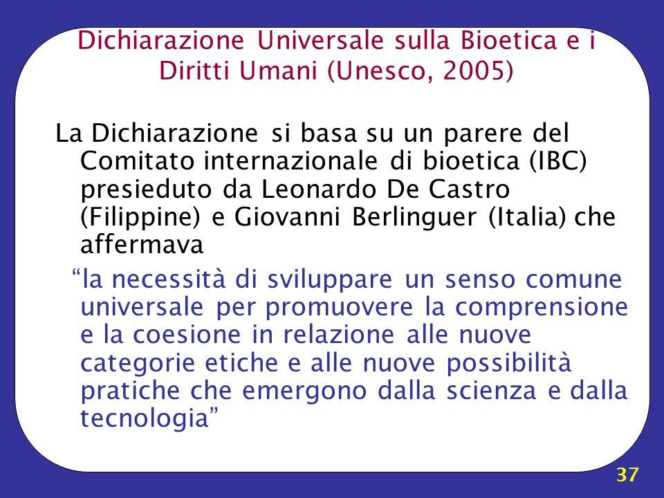 Dichiarazione Universale sulla Bioetica e i Diritti Umani (Unesco, 2005)
