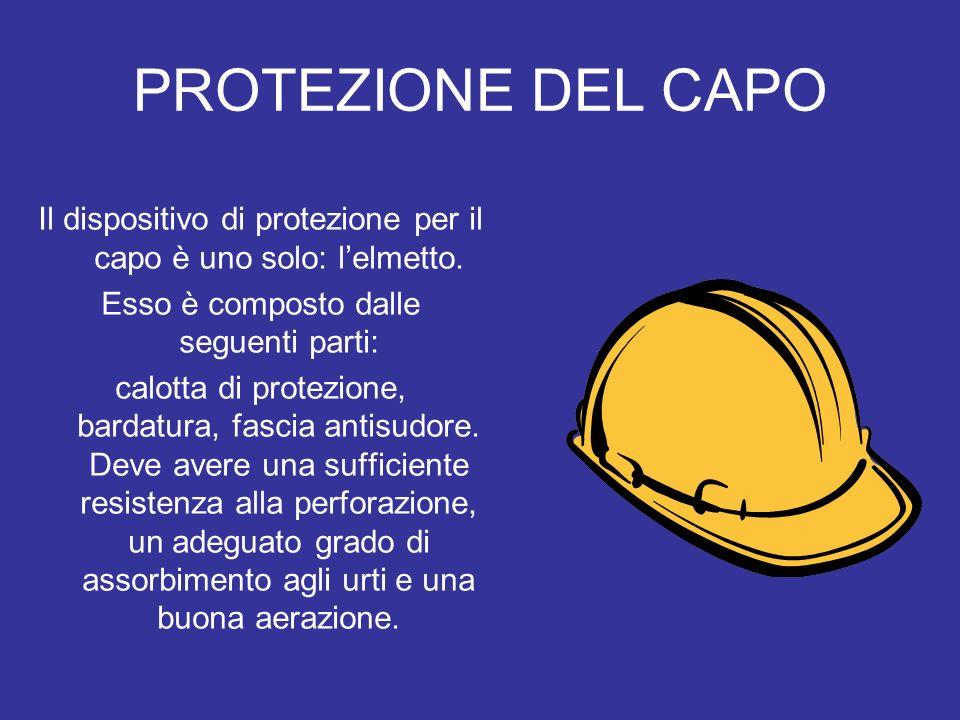 PROTEZIONE DEL CAPOIl dispositivo di protezione per il capo è uno solo: l'elmetto. Esso è composto dalle seguenti parti: