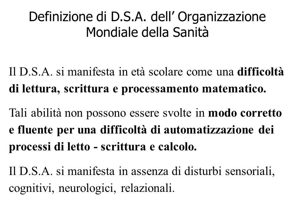 Definizione di D.S.A. dell' Organizzazione Mondiale della Sanità
