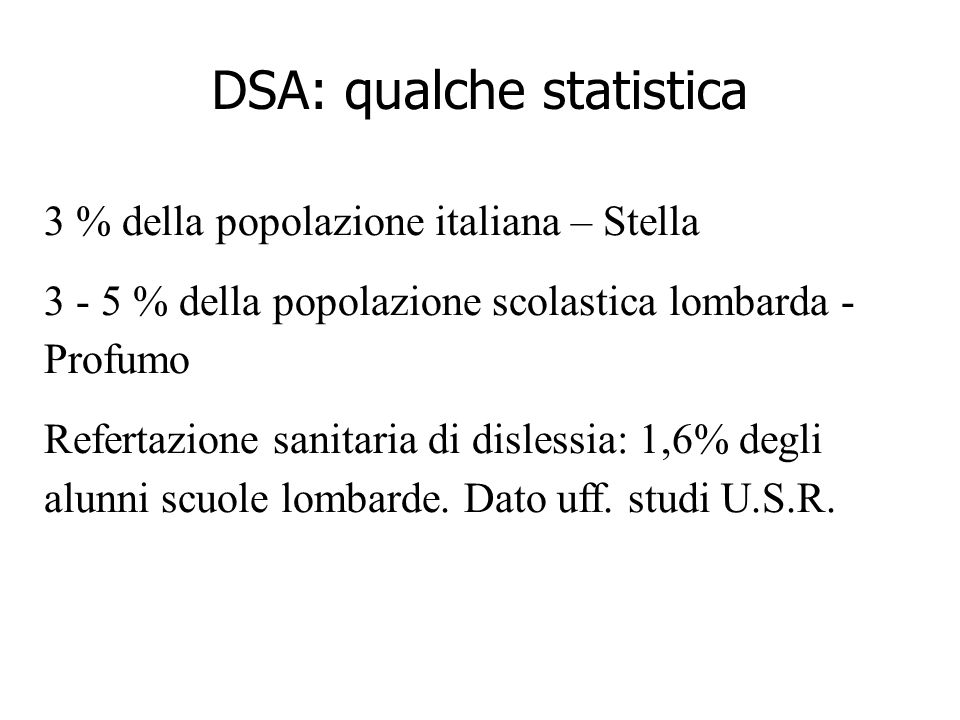 DSA: qualche statistica