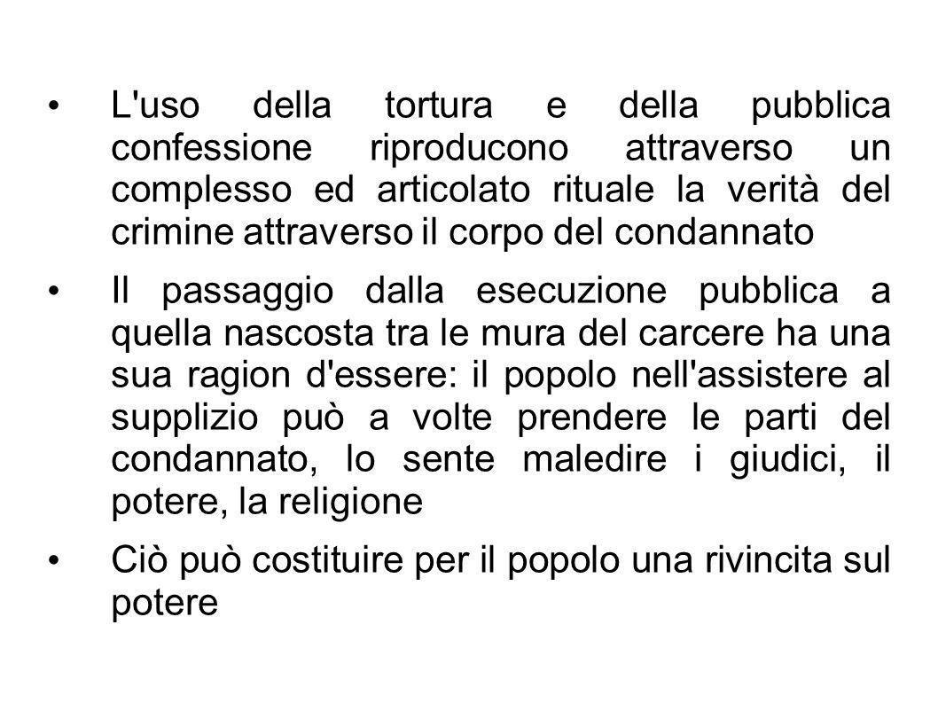 L uso della tortura e della pubblica confessione riproducono attraverso un complesso ed articolato rituale la verità del crimine attraverso il corpo del condannato
