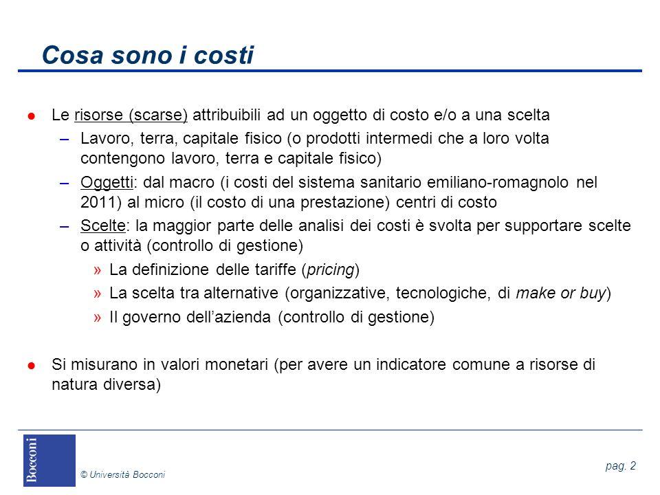 Cosa sono i costi Le risorse (scarse) attribuibili ad un oggetto di costo e/o a una scelta.
