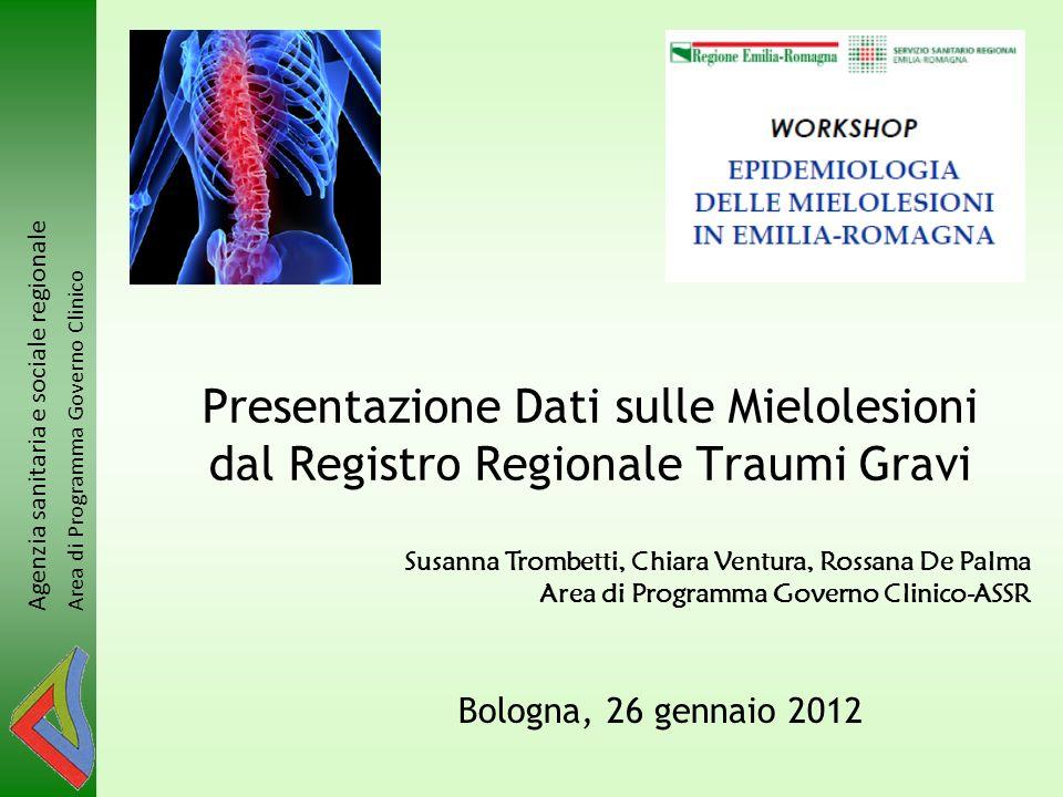 Presentazione Dati sulle Mielolesioni dal Registro Regionale Traumi Gravi