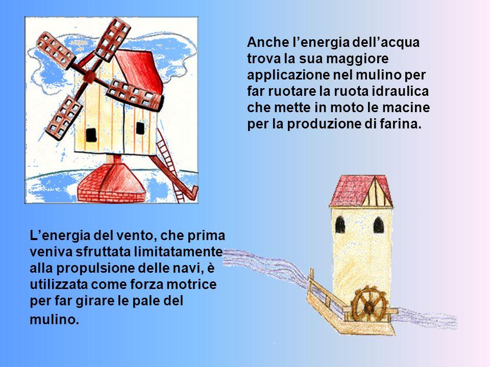 L'energia del vento, che prima veniva sfruttata limitatamente alla propulsione delle navi, è utilizzata come forza motrice per far girare le pale del mulino.