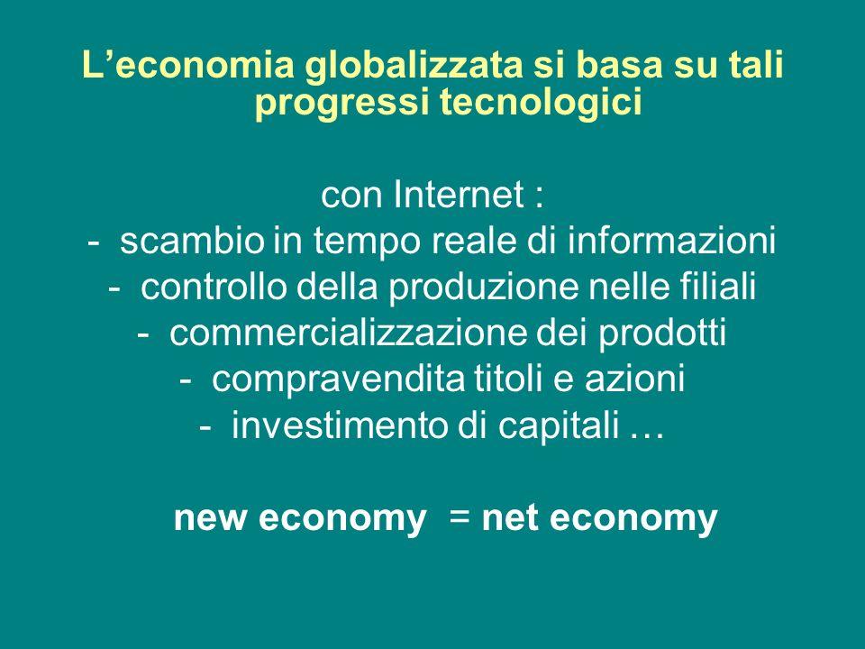 L'economia globalizzata si basa su tali progressi tecnologici