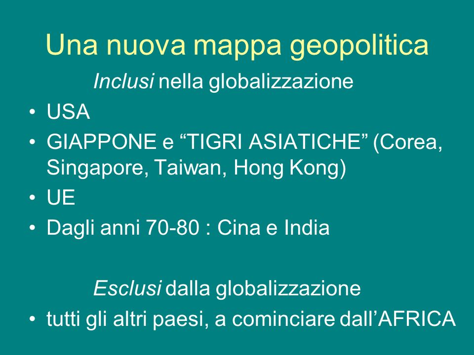 Una nuova mappa geopolitica