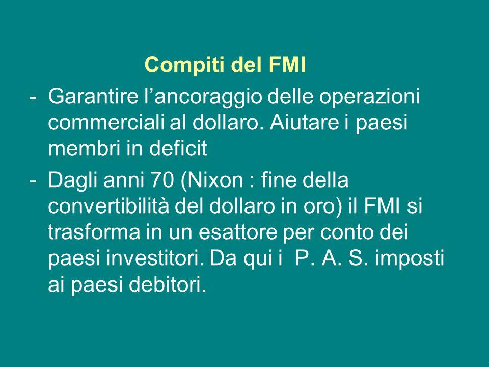 Compiti del FMIGarantire l'ancoraggio delle operazioni commerciali al dollaro. Aiutare i paesi membri in deficit.
