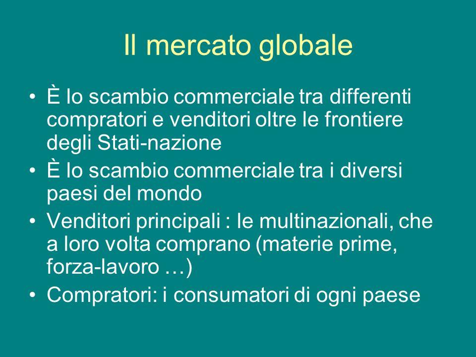 Il mercato globale È lo scambio commerciale tra differenti compratori e venditori oltre le frontiere degli Stati-nazione.