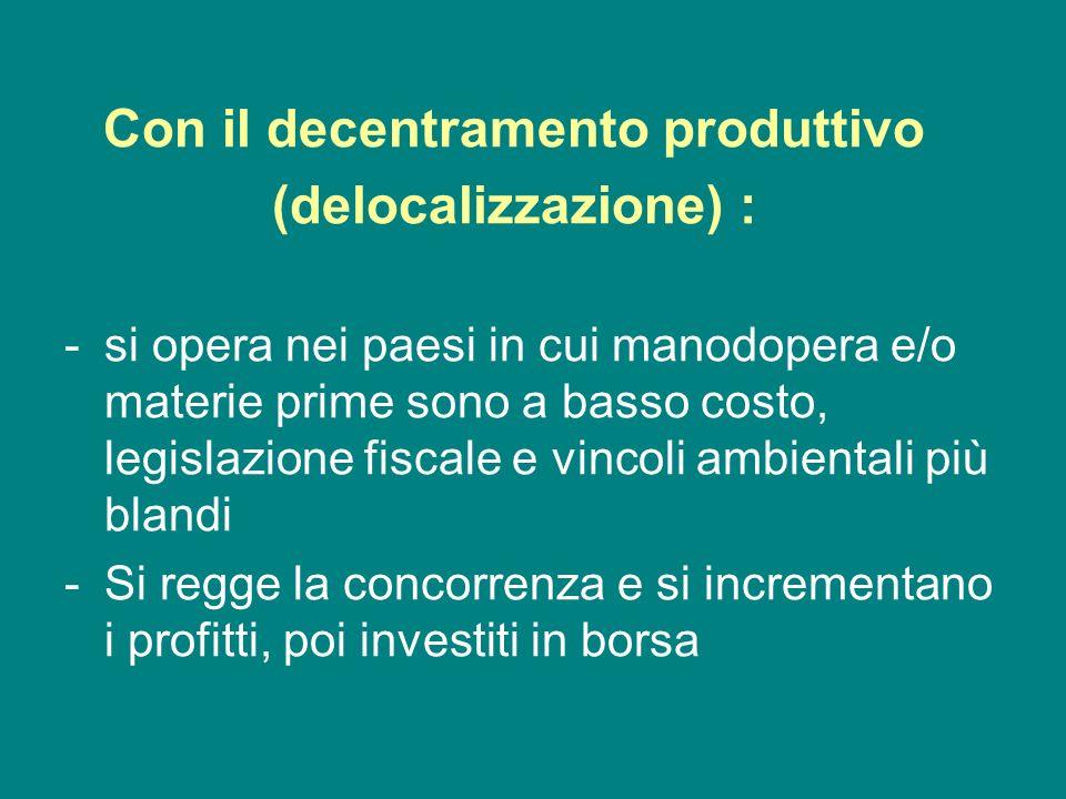 (delocalizzazione) : Con il decentramento produttivo