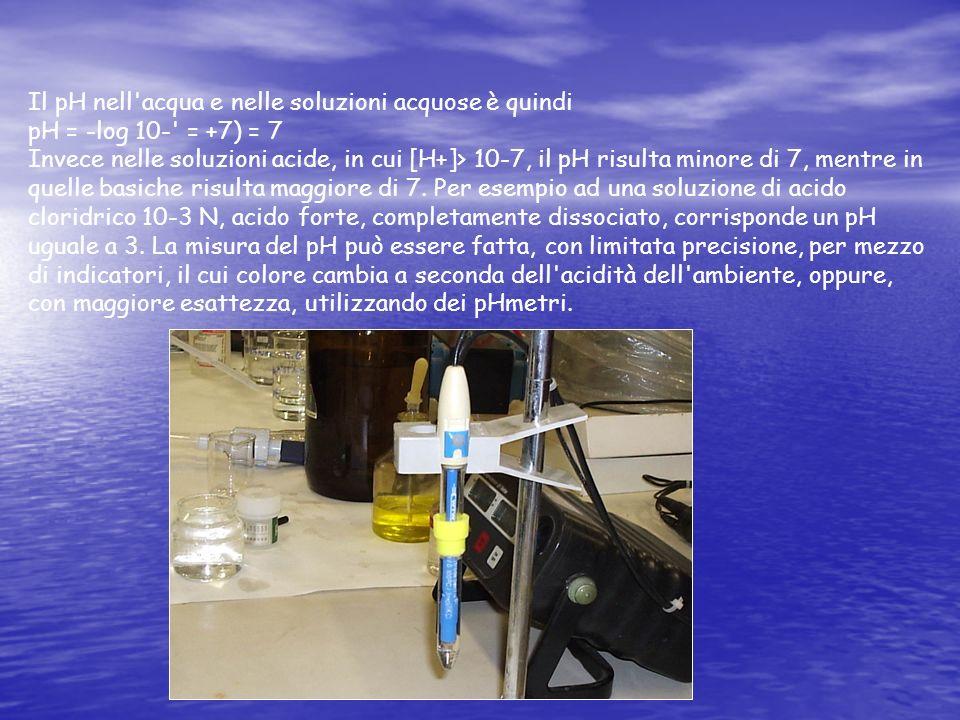 Il pH nell acqua e nelle soluzioni acquose è quindi