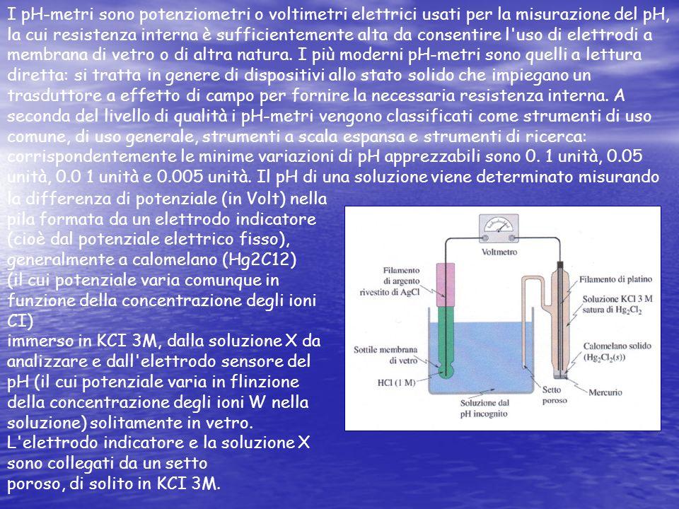I pH-metri sono potenziometri o voltimetri elettrici usati per la misurazione del pH, la cui resistenza interna è sufficientemente alta da consentire l uso di elettrodi a membrana di vetro o di altra natura. I più moderni pH-metri sono quelli a lettura diretta: si tratta in genere di dispositivi allo stato solido che impiegano un trasduttore a effetto di campo per fornire la necessaria resistenza interna. A seconda del livello di qualità i pH-metri vengono classificati come strumenti di uso comune, di uso generale, strumenti a scala espansa e strumenti di ricerca: corrispondentemente le minime variazioni di pH apprezzabili sono 0. 1 unità, 0.05 unità, 0.0 1 unità e 0.005 unità. Il pH di una soluzione viene determinato misurando