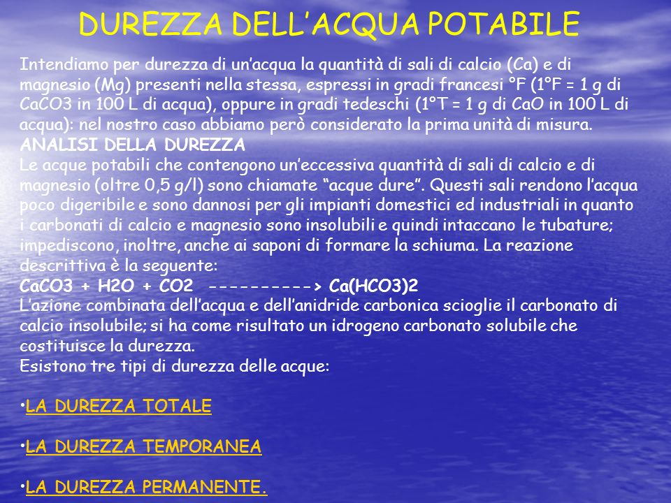 DUREZZA DELL'ACQUA POTABILE