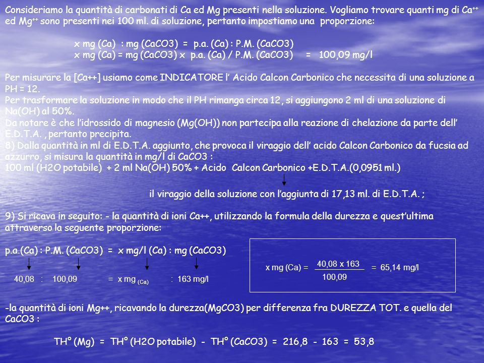 x mg (Ca) : mg (CaCO3) = p.a. (Ca) : P.M. (CaCO3)