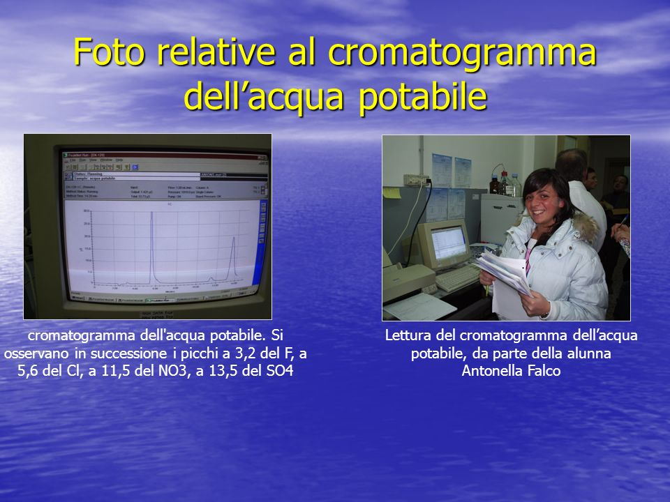 Foto relative al cromatogramma dell'acqua potabile