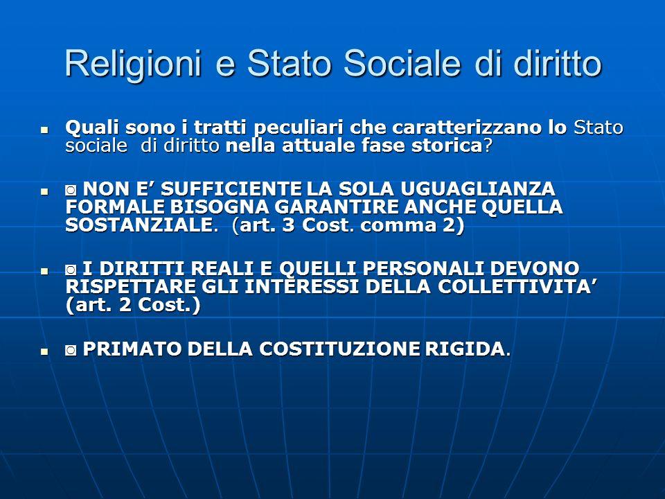 Religioni e Stato Sociale di diritto