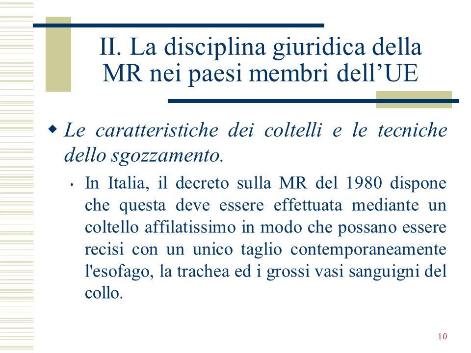 II. La disciplina giuridica della MR nei paesi membri dell'UE