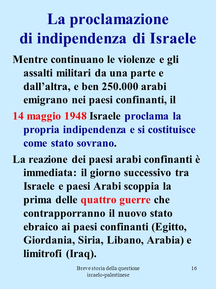 La proclamazione di indipendenza di Israele