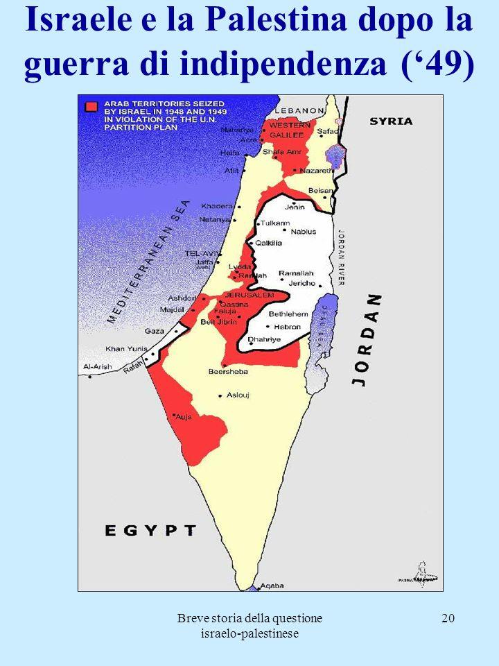 Israele e la Palestina dopo la guerra di indipendenza ('49)