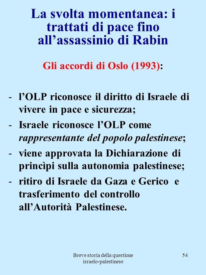 La svolta momentanea: i trattati di pace fino all'assassinio di Rabin