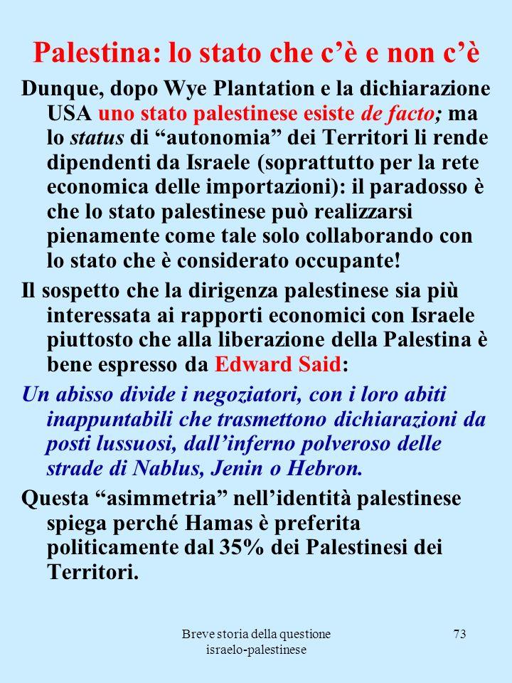 Palestina: lo stato che c'è e non c'è