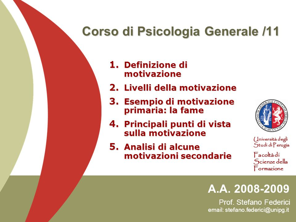 Corso di Psicologia Generale /11