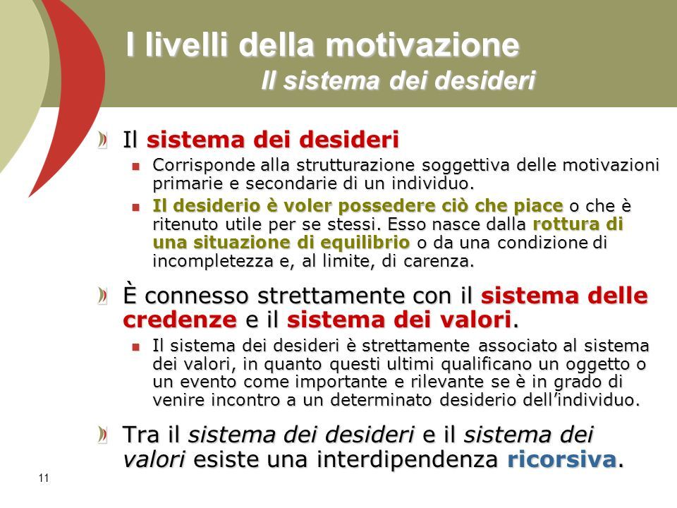 I livelli della motivazione Il sistema dei desideri