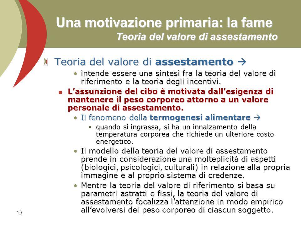 Una motivazione primaria: la fame Teoria del valore di assestamento
