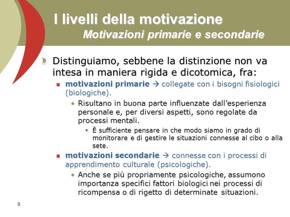 I livelli della motivazione Motivazioni primarie e secondarie