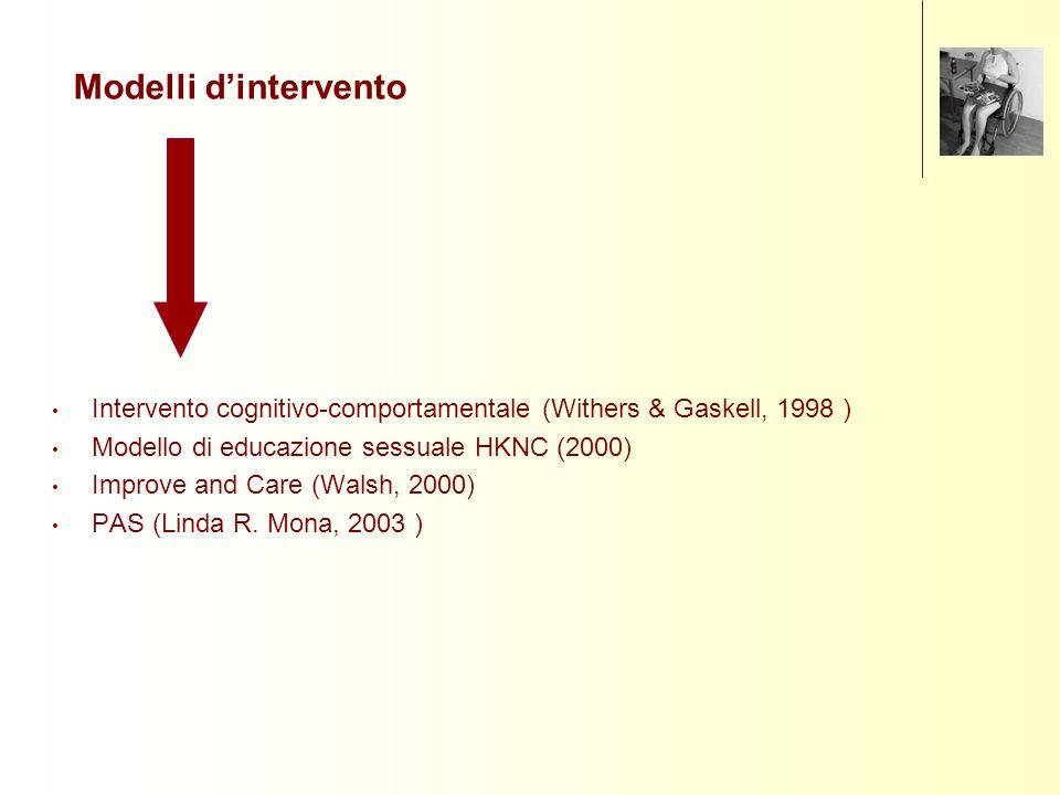 Modelli d'intervento Intervento cognitivo-comportamentale (Withers & Gaskell, 1998 ) Modello di educazione sessuale HKNC (2000)