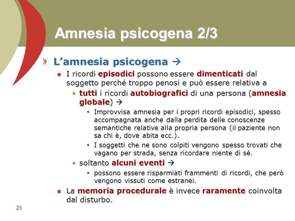 Amnesia psicogena 2/3 L'amnesia psicogena 