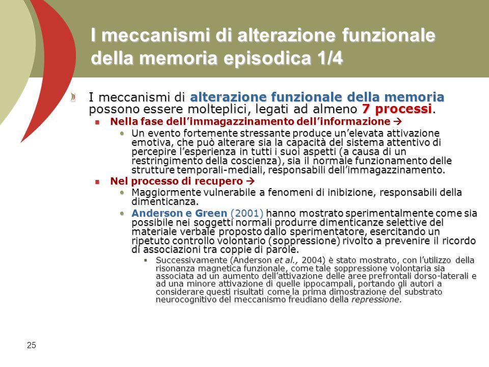 I meccanismi di alterazione funzionale della memoria episodica 1/4