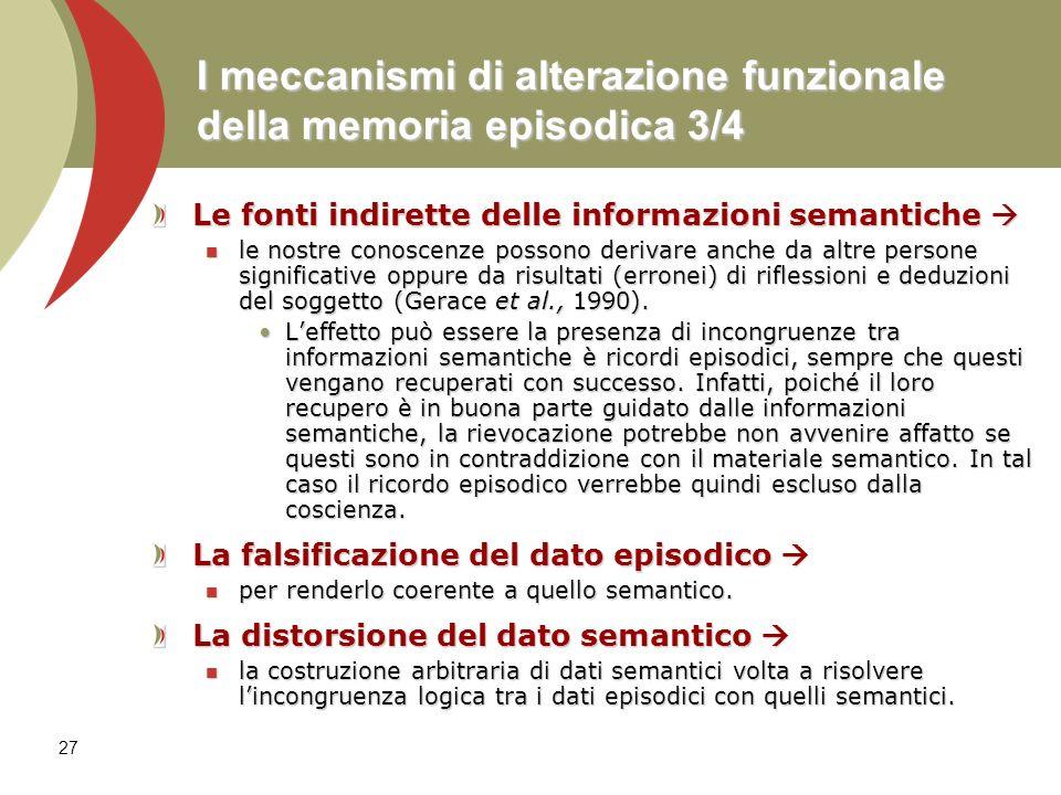 I meccanismi di alterazione funzionale della memoria episodica 3/4