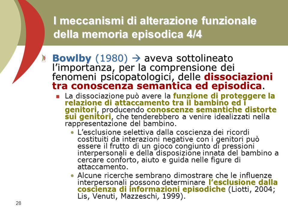 I meccanismi di alterazione funzionale della memoria episodica 4/4