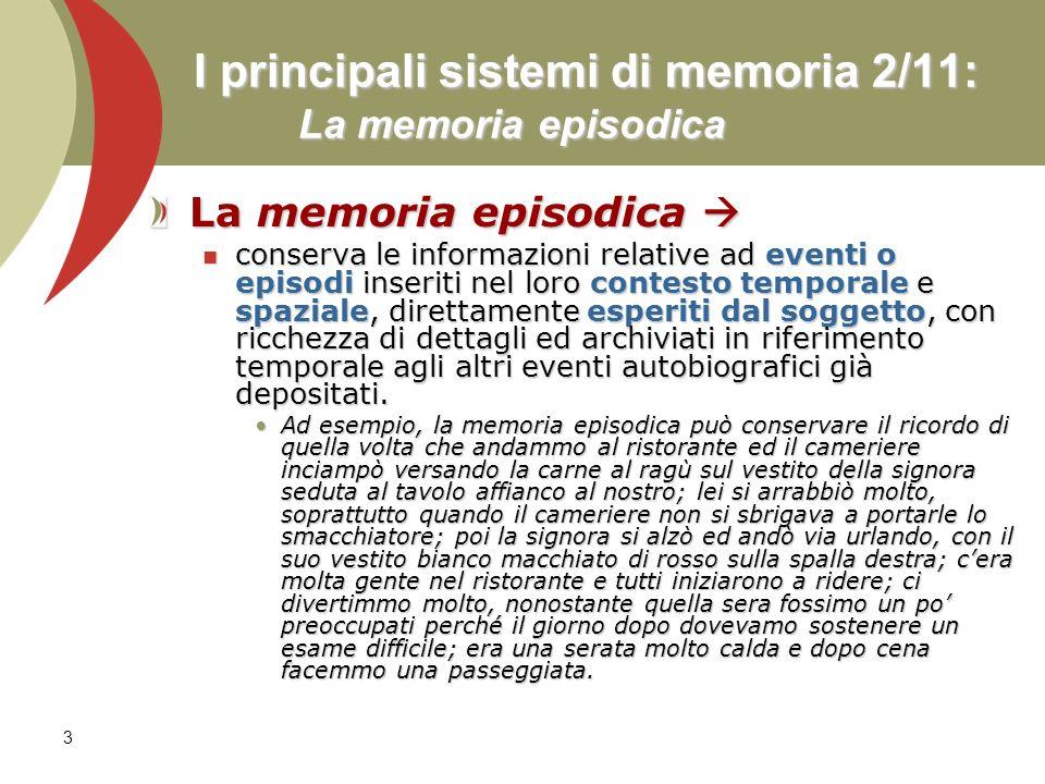 I principali sistemi di memoria 2/11: La memoria episodica