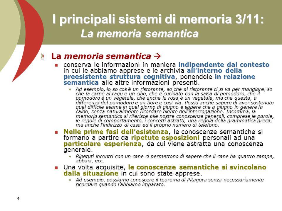 I principali sistemi di memoria 3/11: La memoria semantica